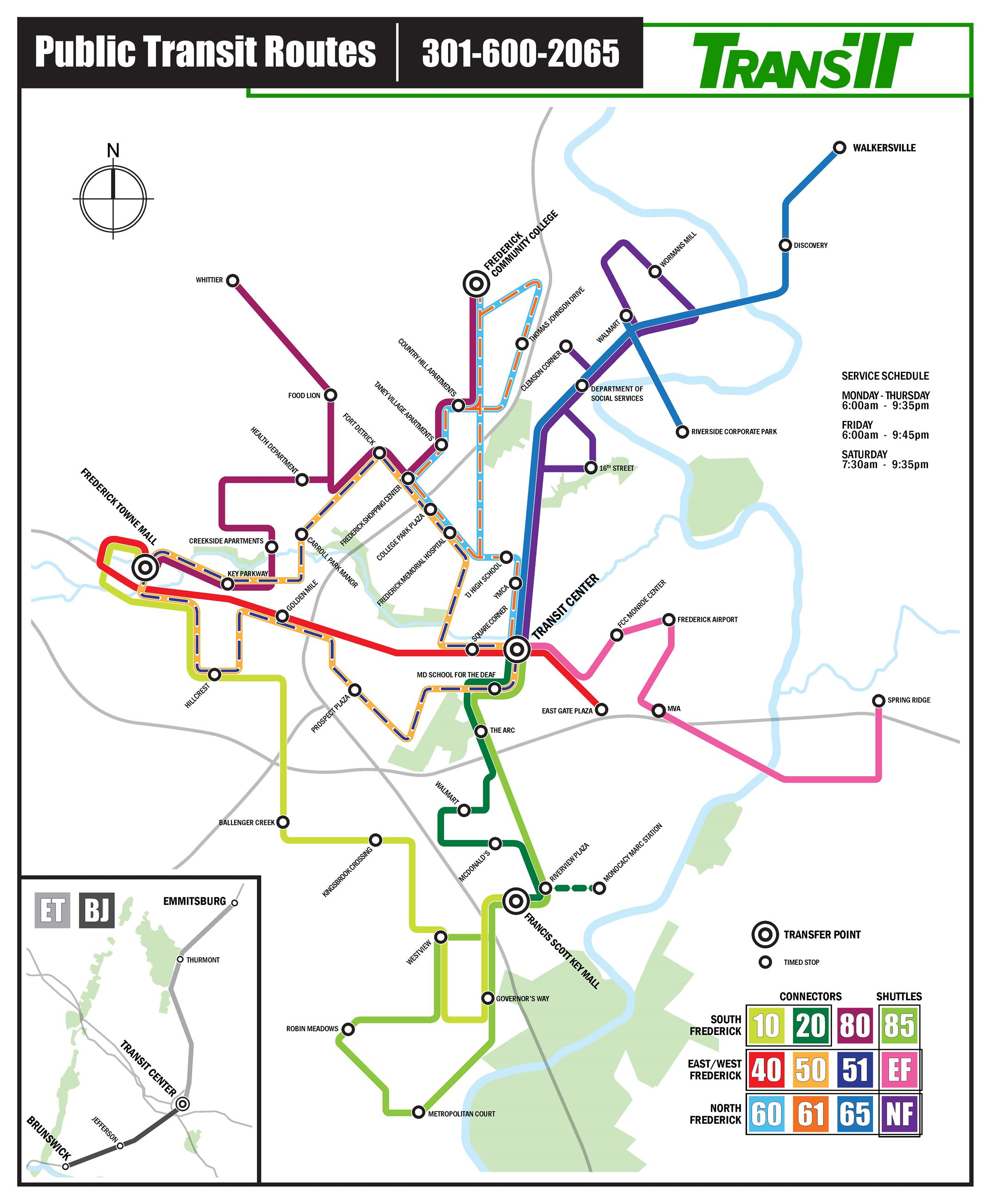 TransIT Routes & Schedule Information | Frederick County MD