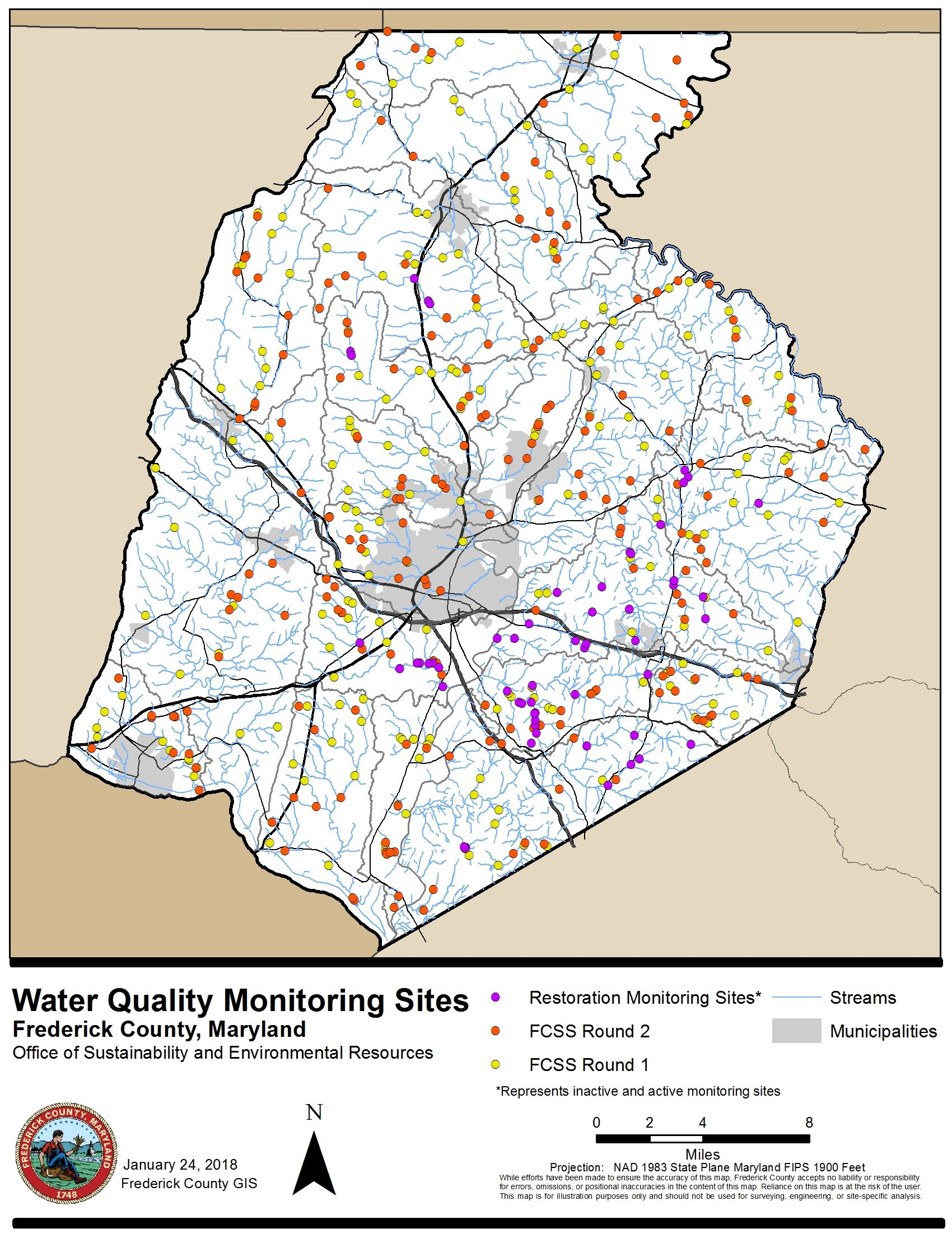 map of frederick county maryland Water Quality Monitoring Frederick County Md Official Website map of frederick county maryland